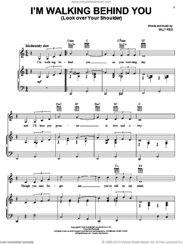 I'm Walking Behind You (Look Over Your Shoulder) sheet music for voice, piano or guitar by Billy Reid