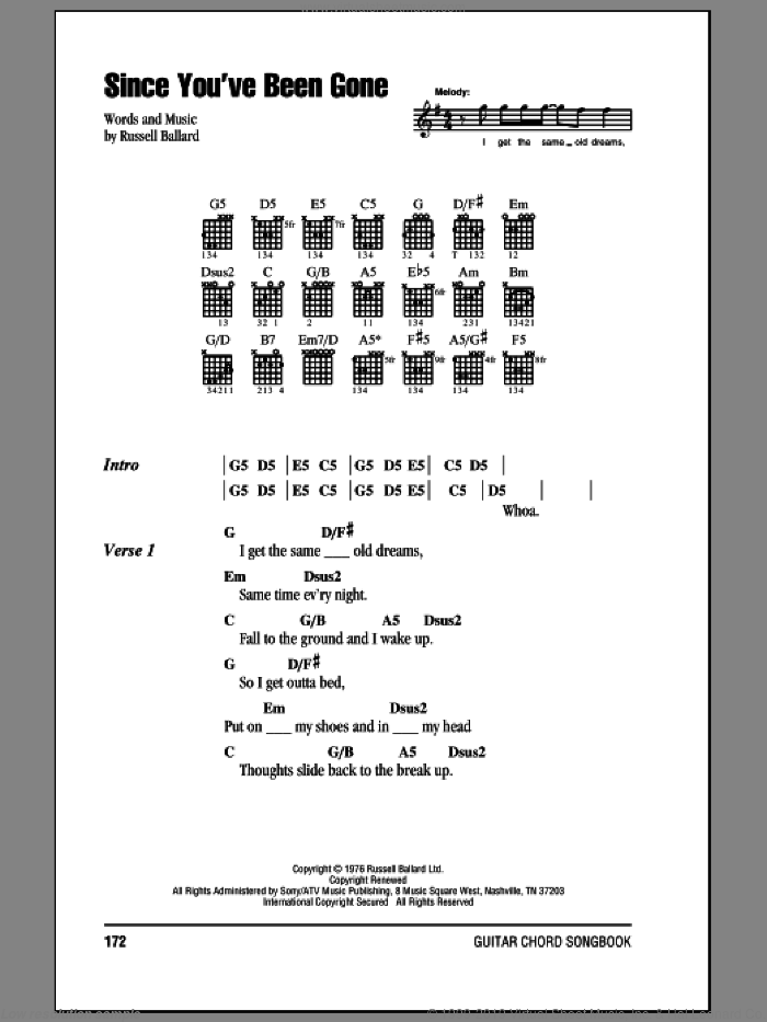 Purple Since Youve Been Gone Sheet Music For Guitar Chords