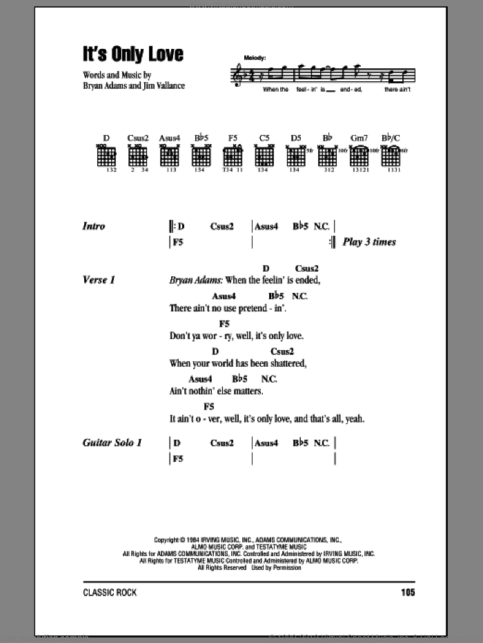 It's Only Love sheet music for guitar (chords) by Bryan Adams and Jim Vallance, intermediate guitar (chords). Score Image Preview.