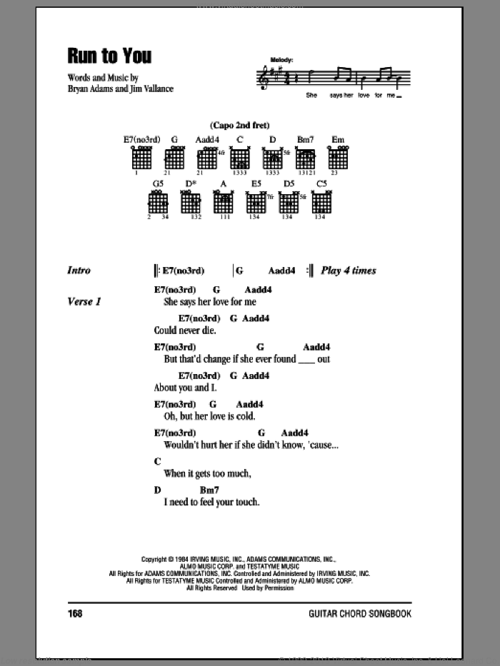 Run To You sheet music for guitar (chords) by Jim Vallance and Bryan Adams. Score Image Preview.
