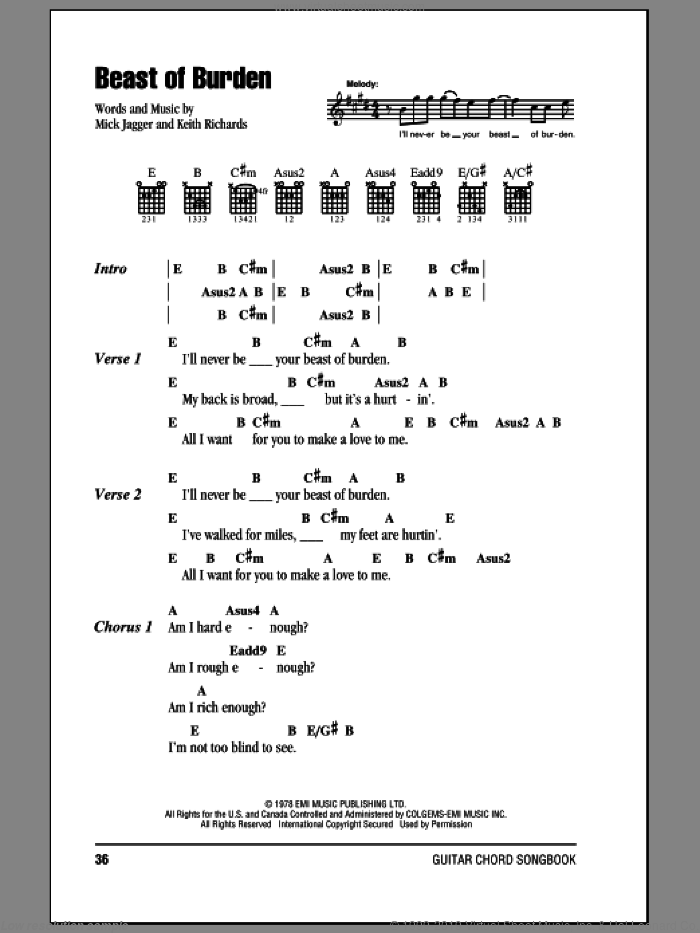 Beast Of Burden sheet music for guitar (chords) by The Rolling Stones, Keith Richards and Mick Jagger, intermediate skill level