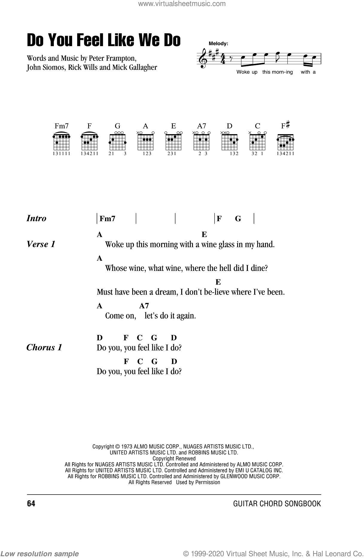 Do You Feel Like We Do sheet music for guitar (chords) by Peter Frampton, John Siomos and Mick Gallagher. Score Image Preview.