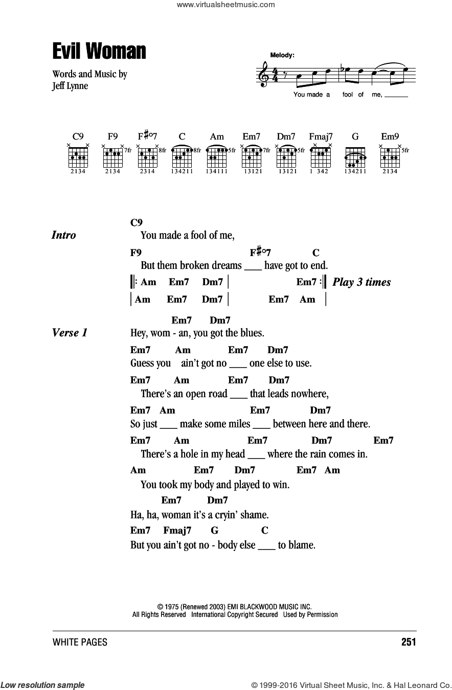 Evil Woman sheet music for guitar (chords) by Jeff Lynne. Score Image Preview.