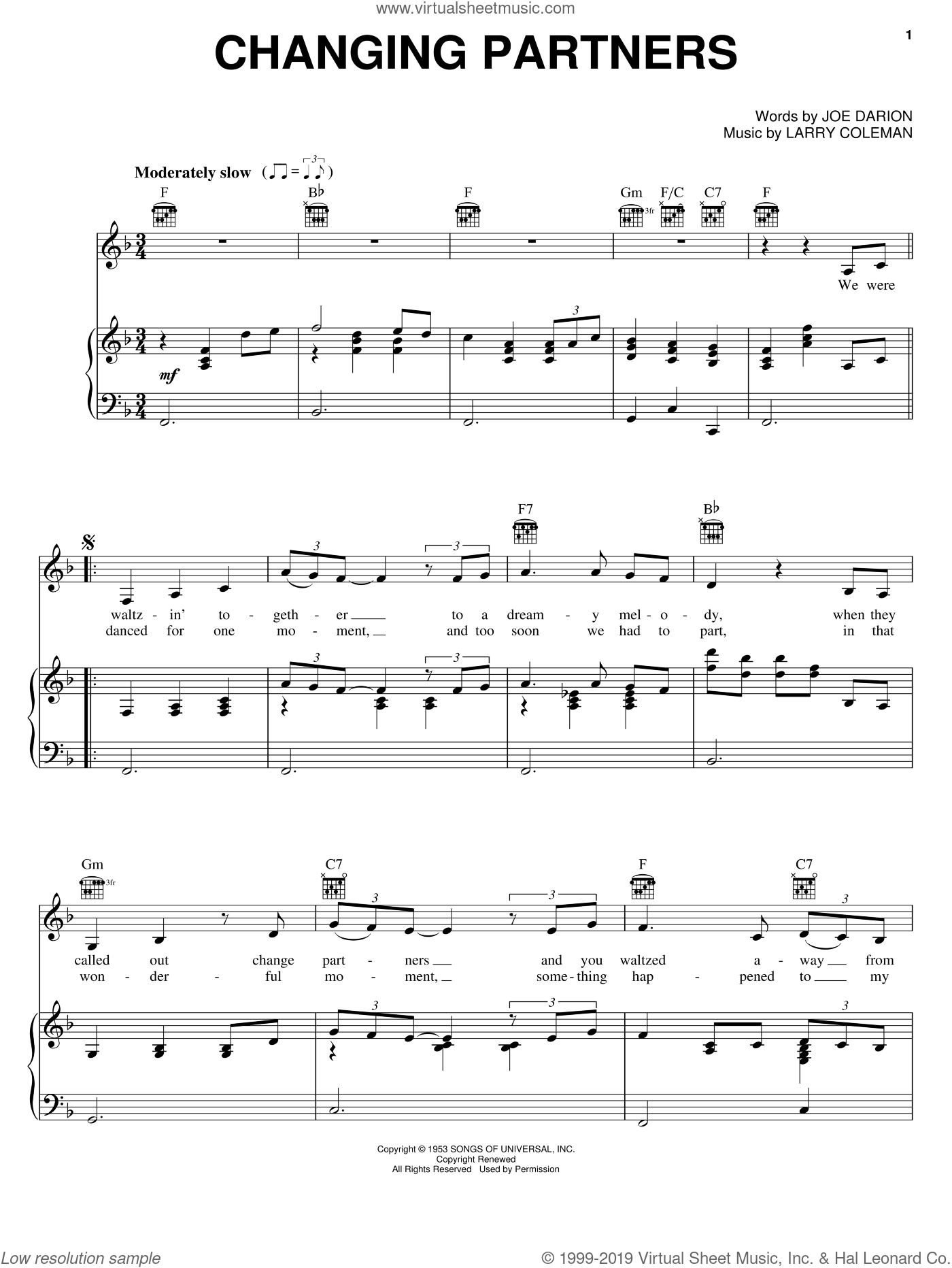 Changing Partners sheet music for voice, piano or guitar by Larry Coleman, Bing Crosby, Patti Page and Joe Darion. Score Image Preview.