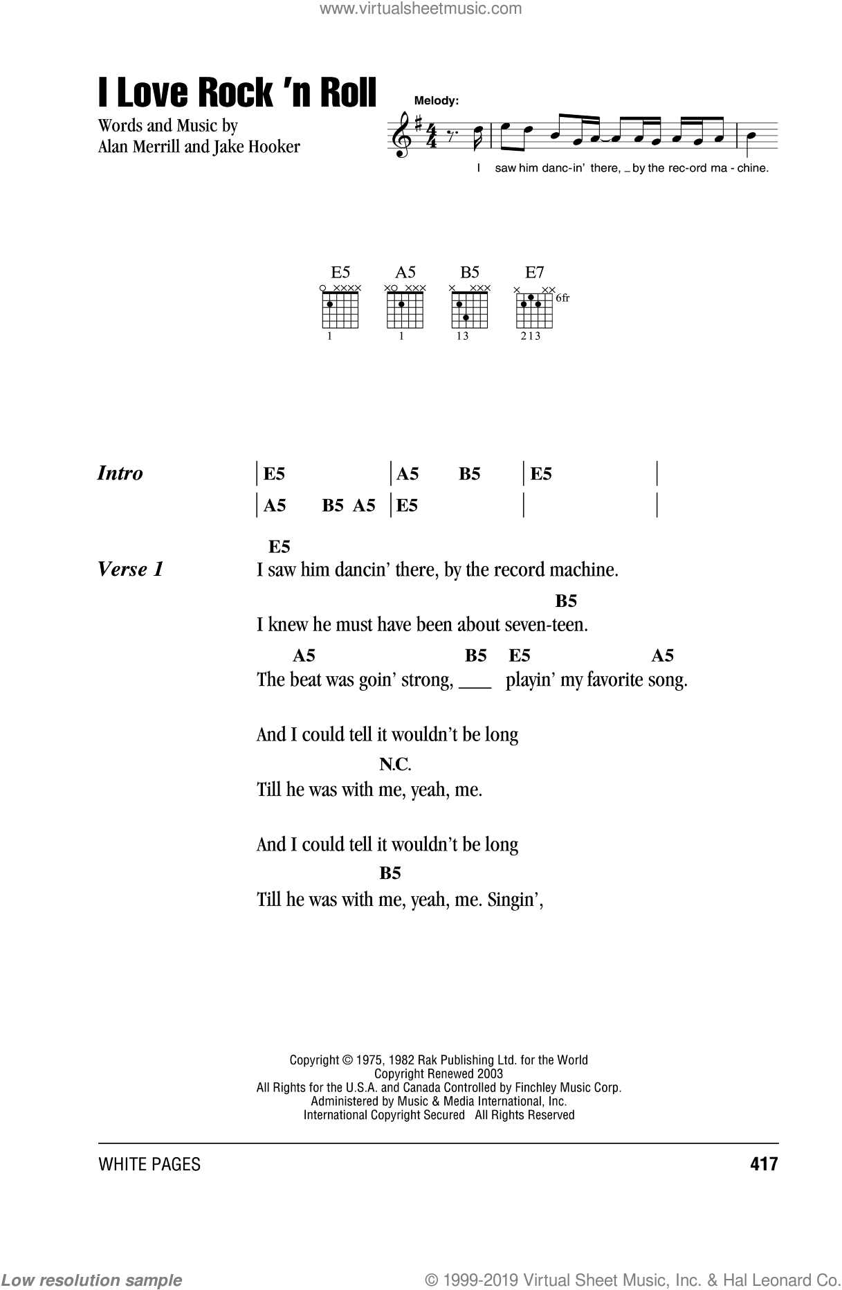 I Love Rock 'N Roll sheet music for guitar solo (chords, lyrics, melody) by Jake Hooker