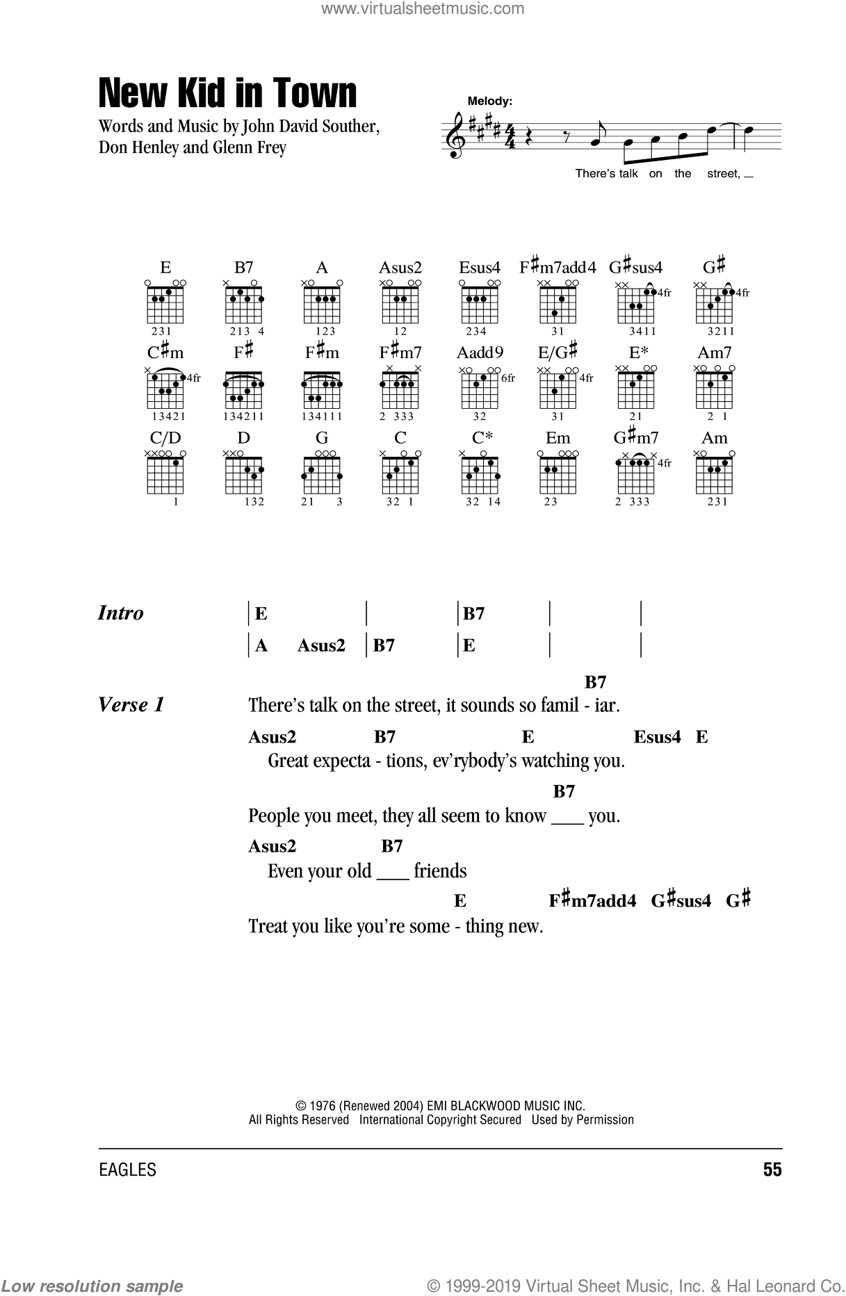 New Kid In Town sheet music for guitar (chords) by Don Henley, The Eagles, Glenn Frey and John David Souther, intermediate skill level