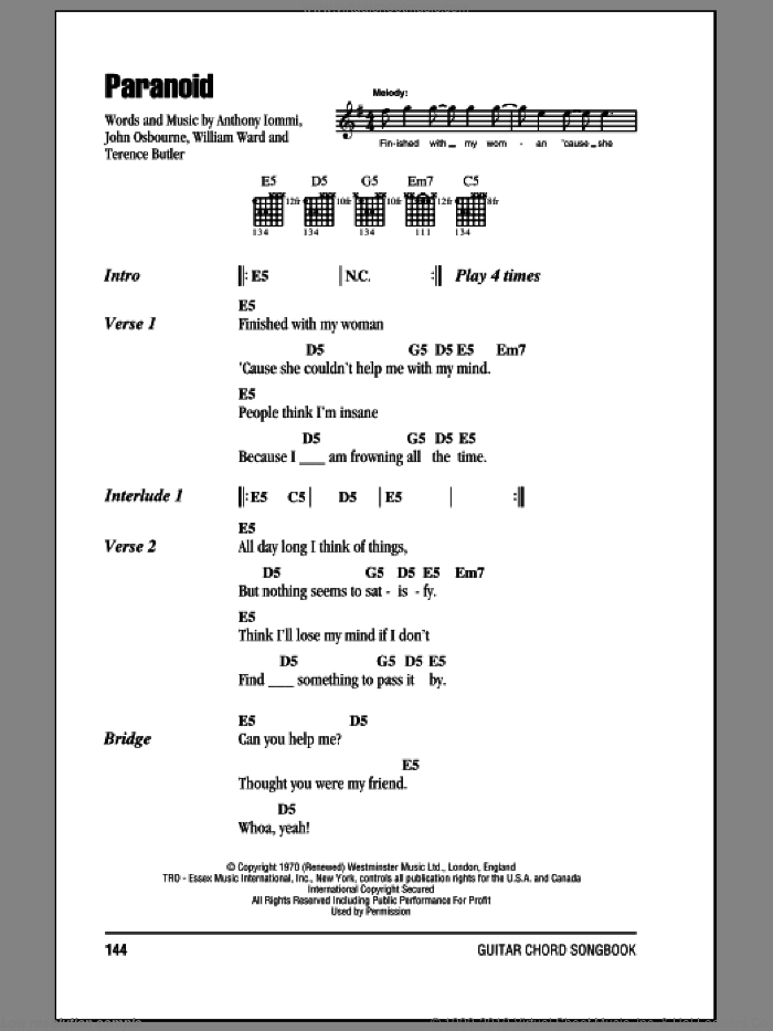 Paranoid sheet music for guitar (chords) by Black Sabbath. Score Image Preview.