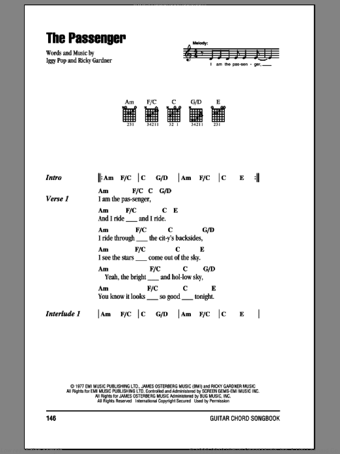 The Passenger sheet music for guitar (chords) by Ricky Gardiner and Iggy Pop. Score Image Preview.