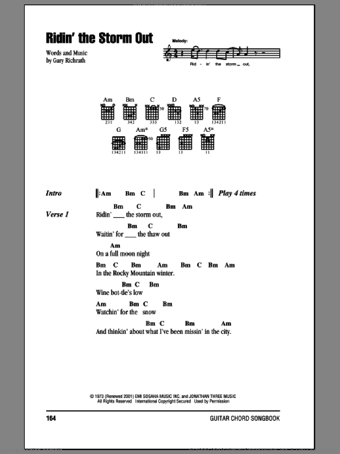 Ridin' The Storm Out sheet music for guitar (chords) by Gary Richrath