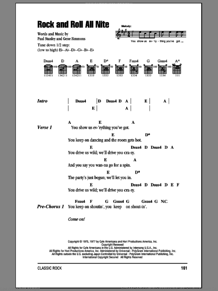 Rock And Roll All Nite sheet music for guitar (chords, lyrics, melody) by Paul Stanley
