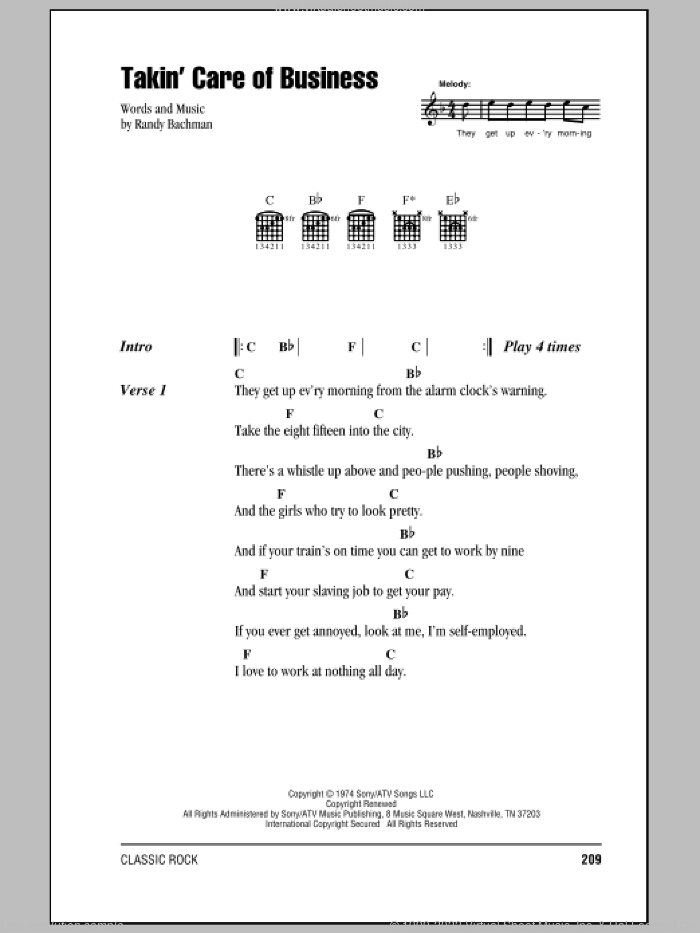 Takin' Care Of Business sheet music for guitar (chords) by Randy Bachman. Score Image Preview.