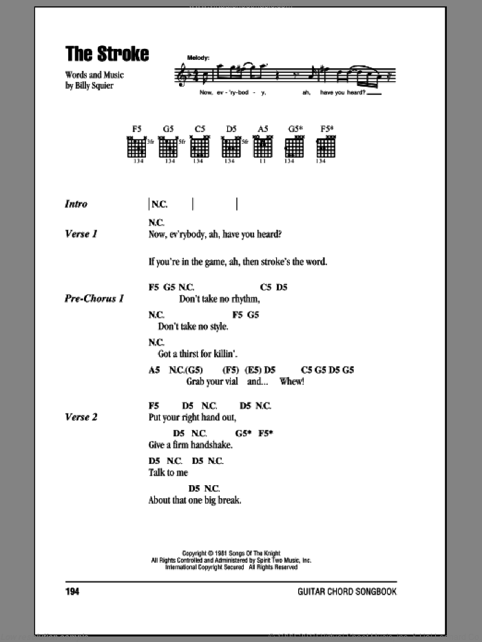The Stroke sheet music for guitar (chords) by Billy Squier