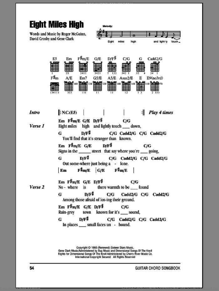 Eight Miles High sheet music for guitar (chords) by Roger McGuinn