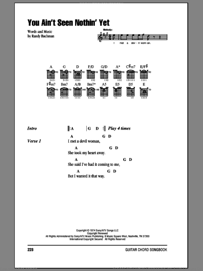 You Ain't Seen Nothin' Yet sheet music for guitar (chords) by Bachman-Turner Overdrive and Randy Bachman, intermediate skill level