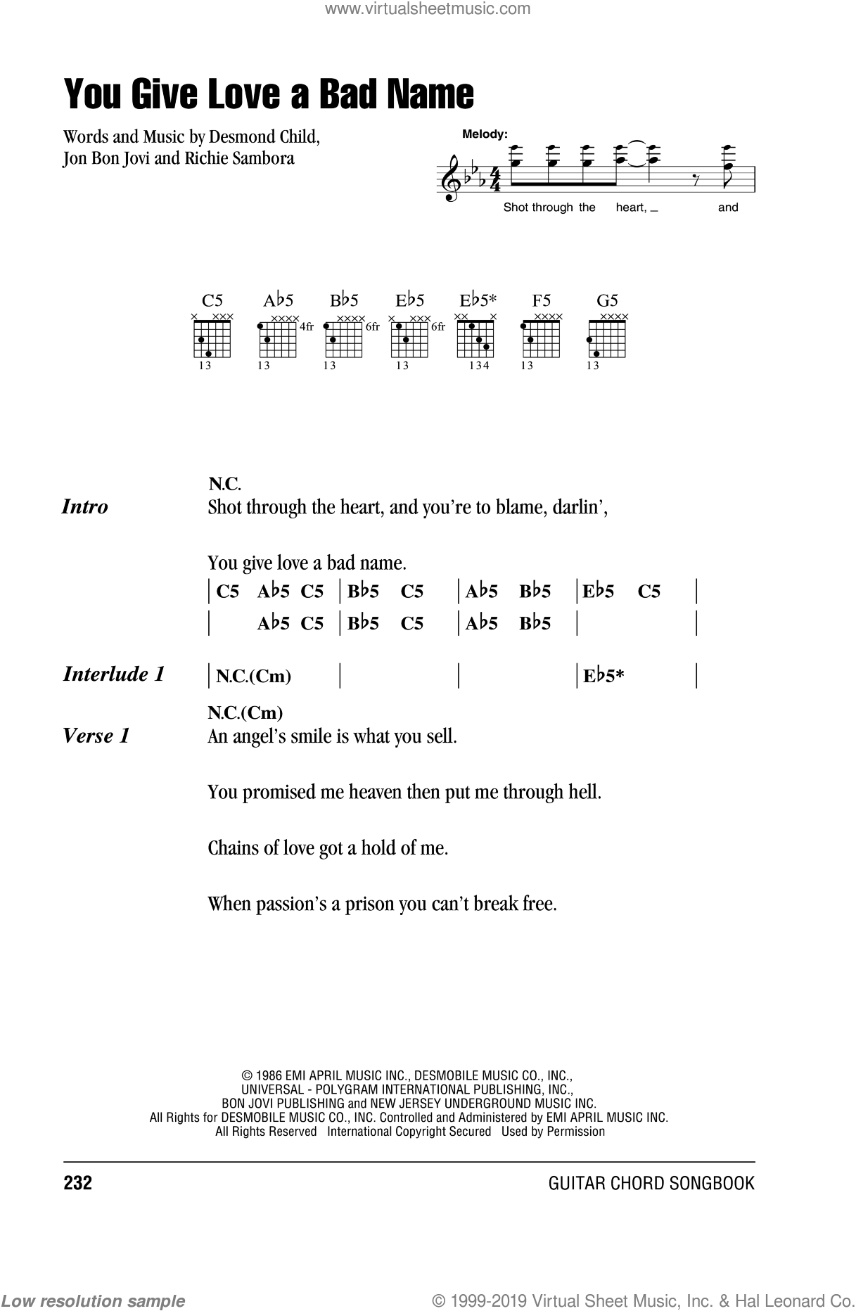 You Give Love A Bad Name sheet music for guitar (chords) by Bon Jovi, Blake Lewis, Desmond Child and Richie Sambora, intermediate. Score Image Preview.