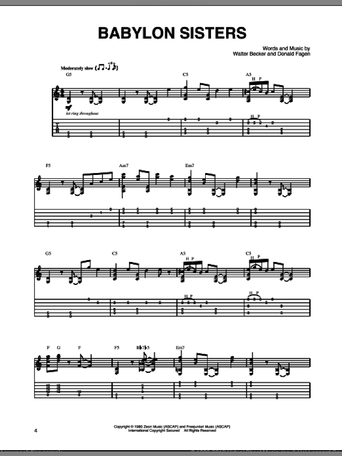 Babylon Sisters sheet music for guitar solo by Walter Becker and Donald Fagen. Score Image Preview.