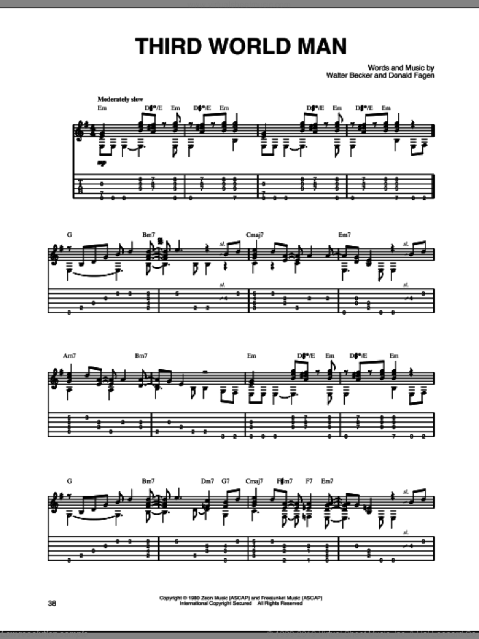 Third World Man sheet music for guitar solo by Walter Becker and Donald Fagen. Score Image Preview.