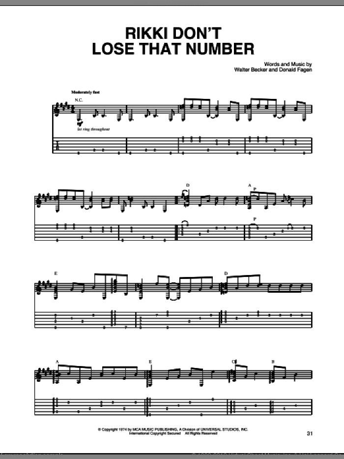 Rikki Don't Lose That Number sheet music for guitar solo by Steely Dan and Donald Fagen, intermediate guitar. Score Image Preview.