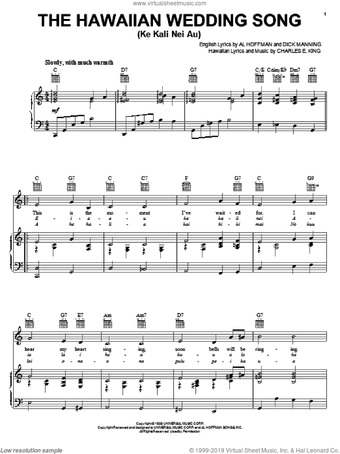 The Hawaiian Wedding Song (Ke Kali Nei Au) sheet music for voice, piano or guitar by Dick Manning