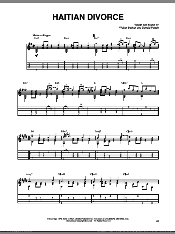 Haitian Divorce sheet music for guitar solo by Steely Dan, Donald Fagen and Walter Becker, intermediate skill level