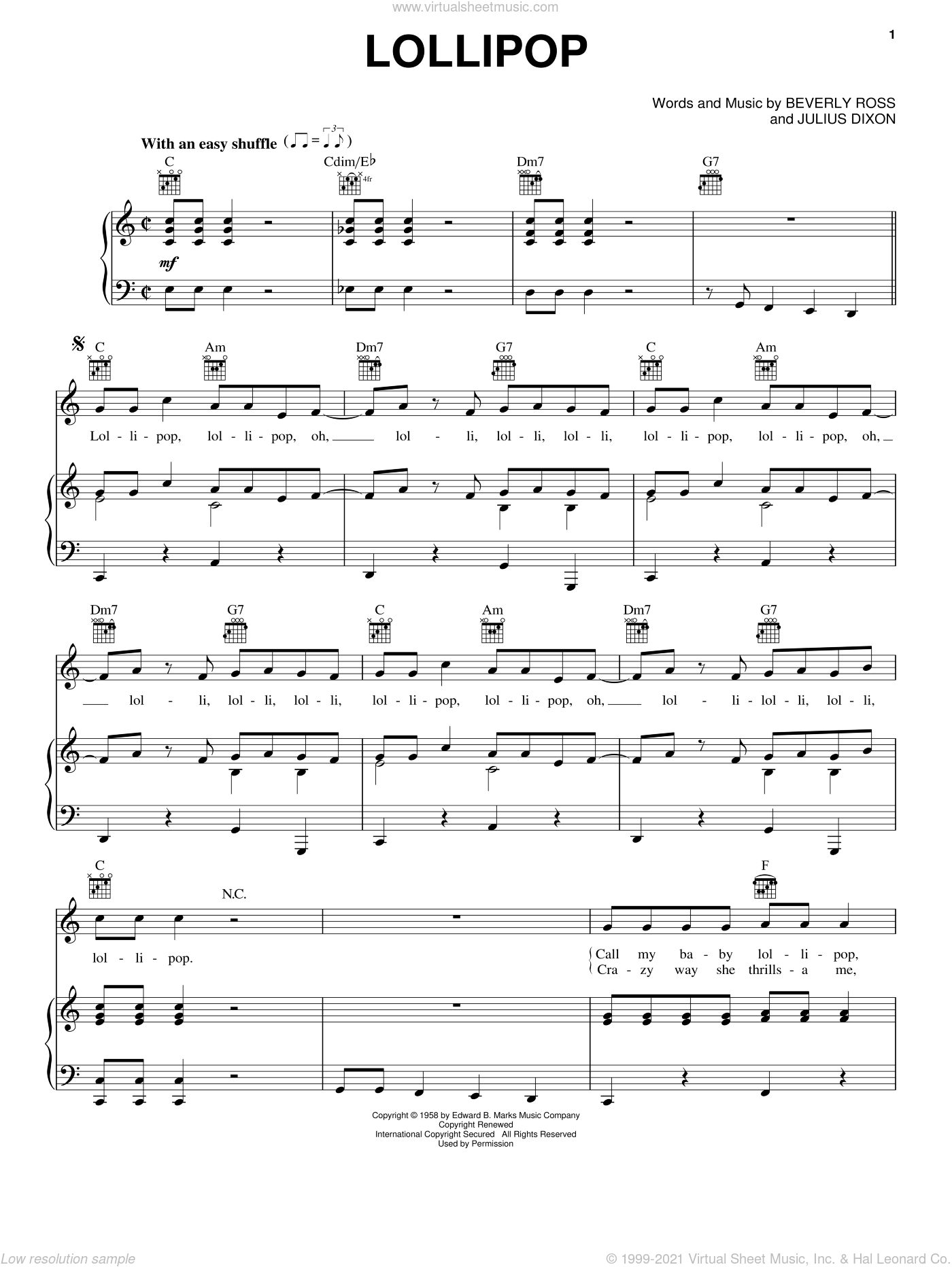 Lollipop sheet music for voice, piano or guitar by The Chordettes, Beverly Ross and Julius Dixon, intermediate skill level