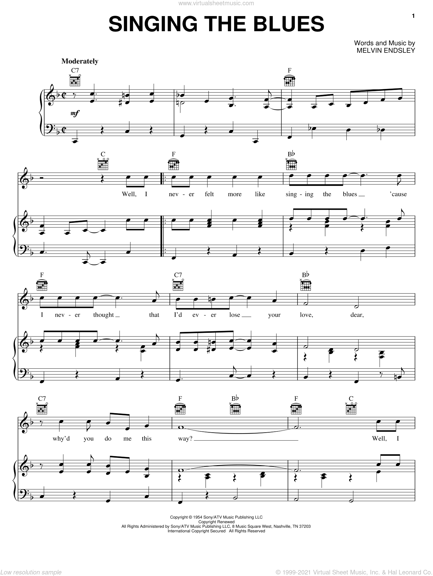 Singing The Blues sheet music for voice, piano or guitar by Melvin Endsley and Marty Robbins. Score Image Preview.