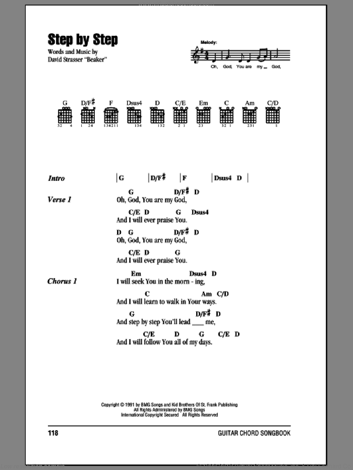 Step By Step sheet music for guitar (chords) by Rich Mullins. Score Image Preview.