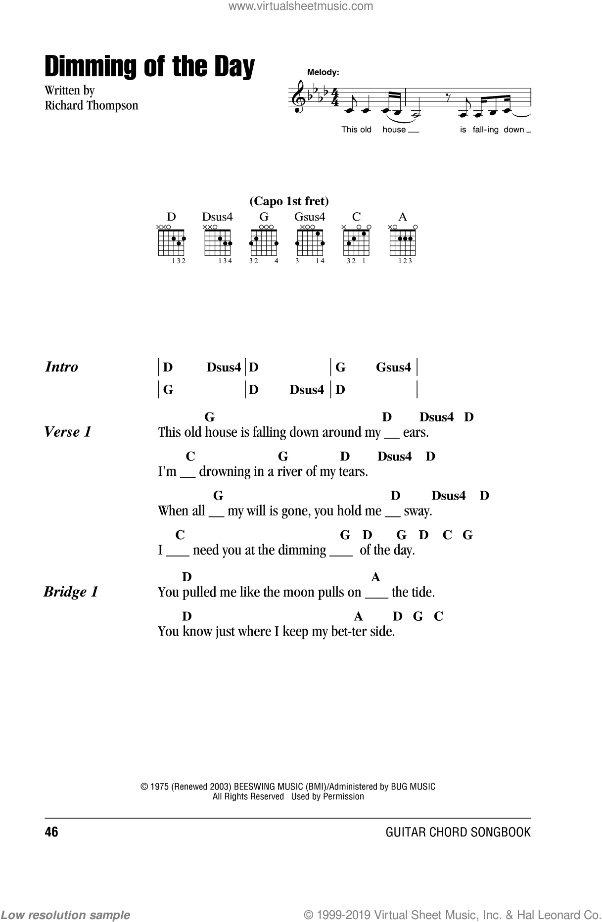 Dimming Of The Day sheet music for guitar (chords) by Richard Thompson and Bonnie Raitt. Score Image Preview.