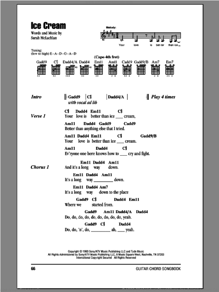 Ice Cream sheet music for guitar (chords) by Sarah McLachlan. Score Image Preview.