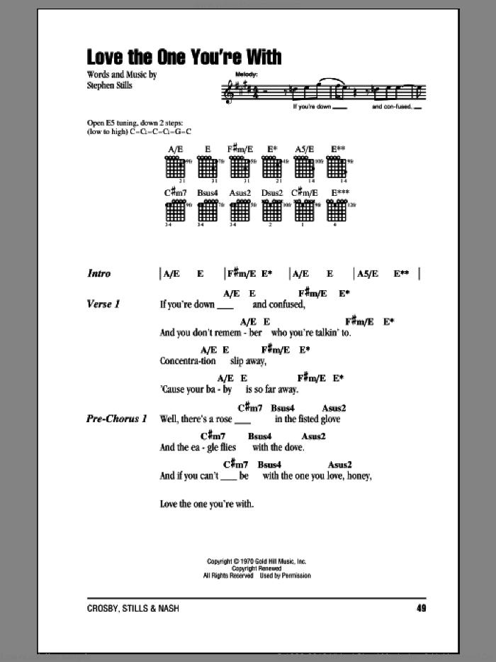 Love The One You're With sheet music for guitar (chords) by Stephen Stills, Crosby, Stills & Nash and The Isley Brothers. Score Image Preview.