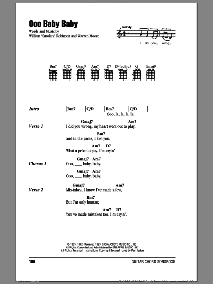 Ooo Baby Baby sheet music for guitar (chords) by Warren Moore