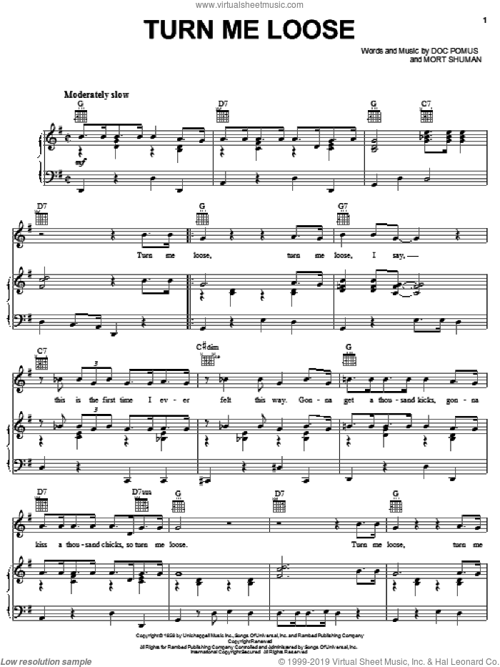 Turn Me Loose sheet music for voice, piano or guitar by Fabian, Doc Pomus, Jerome Pomus and Mort Shuman, intermediate skill level