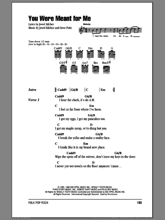 You Were Meant For Me sheet music for guitar (chords) by Steve Poltz, Jewel and Jewel Kilcher