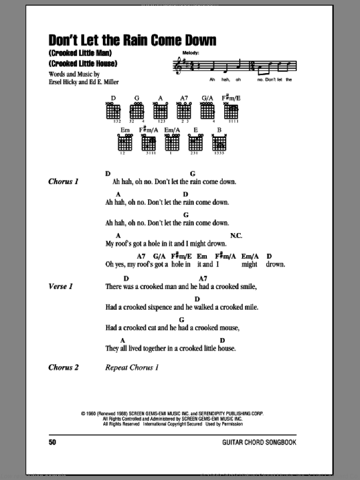 Don't Let The Rain Come Down (Crooked Little Man) (Crooked Little House) sheet music for guitar (chords) by Serendipity Singers, intermediate. Score Image Preview.