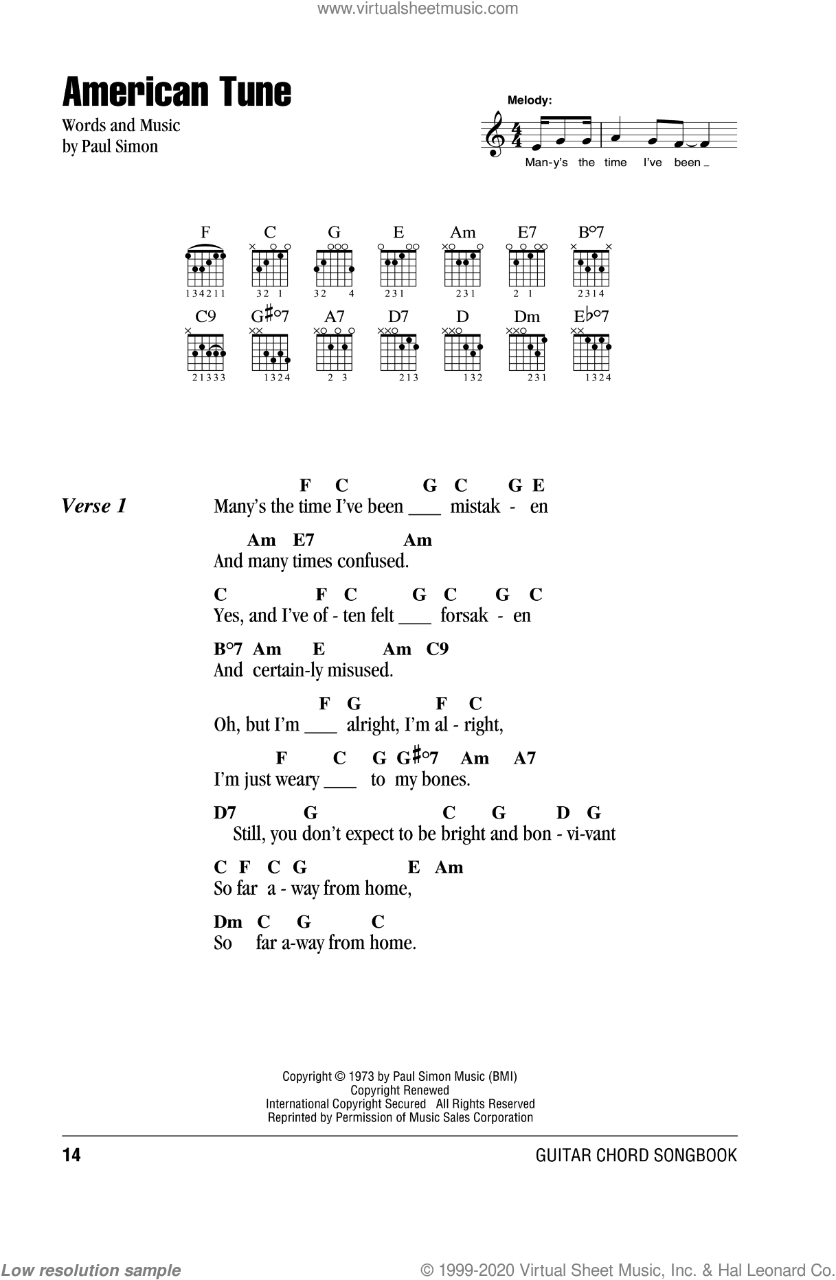 American Tune sheet music for guitar (chords) by Paul Simon, intermediate. Score Image Preview.