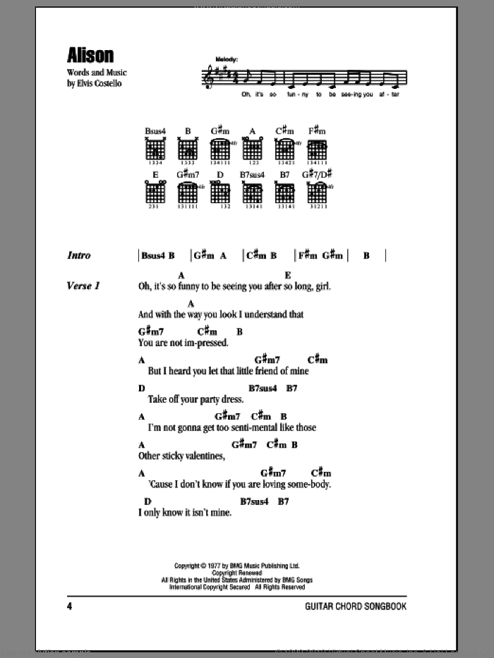 Alison sheet music for guitar (chords) by Elvis Costello, intermediate skill level
