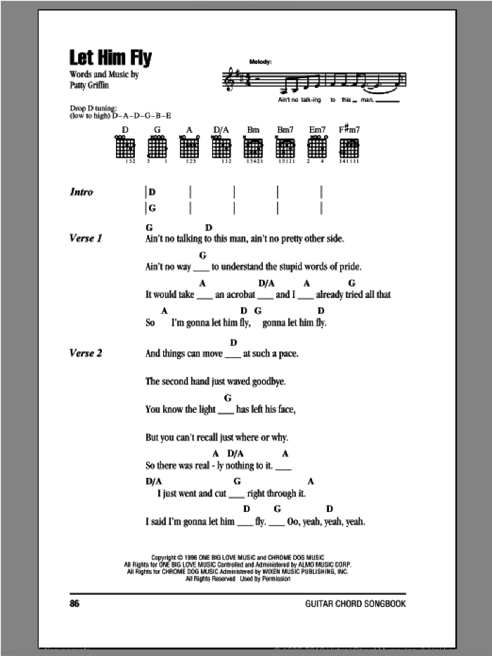 Let Him Fly sheet music for guitar (chords) by Patty Griffin and Dixie Chicks, intermediate guitar (chords). Score Image Preview.