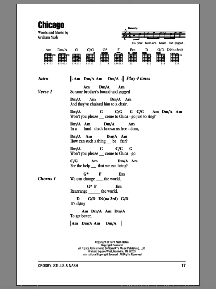 Chicago sheet music for guitar (chords) by Crosby, Stills & Nash and Graham Nash, intermediate. Score Image Preview.