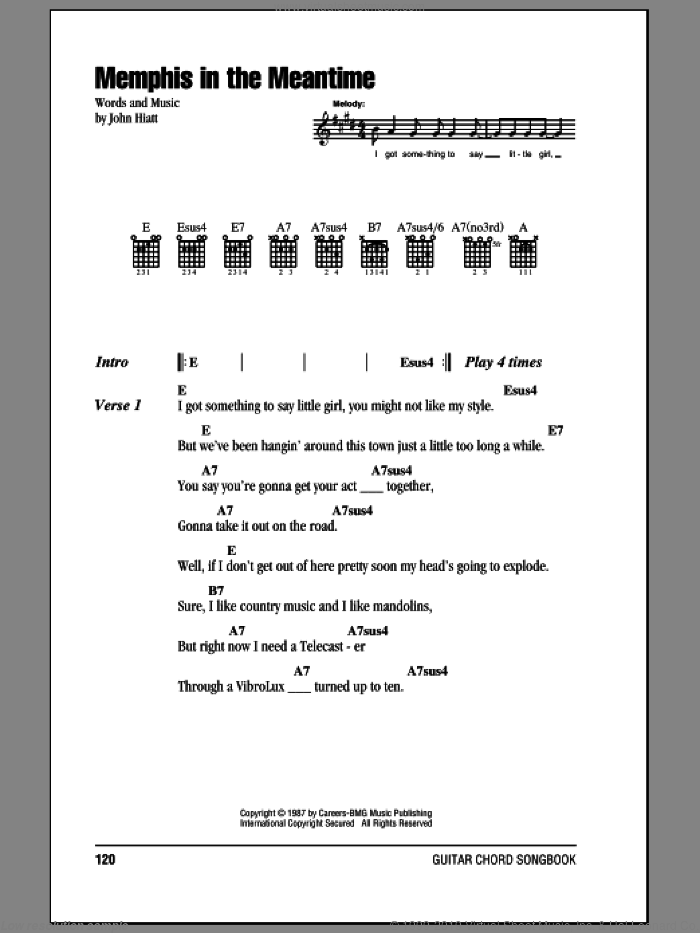 Memphis In The Meantime sheet music for guitar (chords, lyrics, melody) by John Hiatt