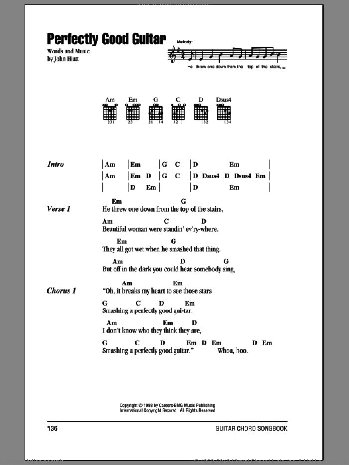 Perfectly Good Guitar sheet music for guitar (chords) by John Hiatt. Score Image Preview.