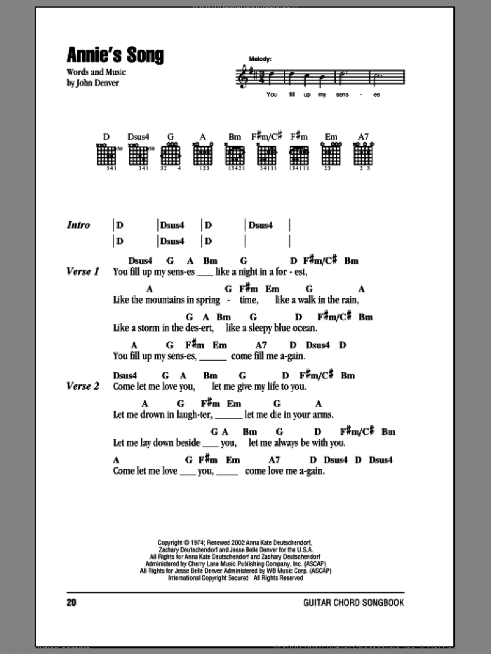Annie's Song sheet music for guitar (chords) by John Denver, intermediate skill level
