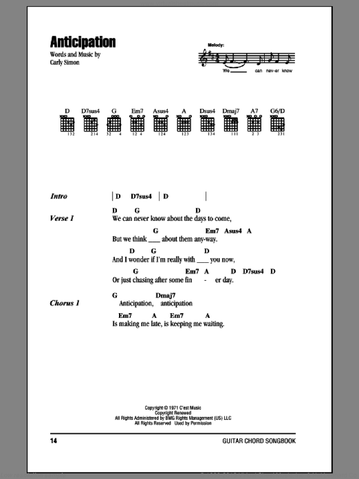 Anticipation sheet music for guitar (chords) by Carly Simon, intermediate skill level