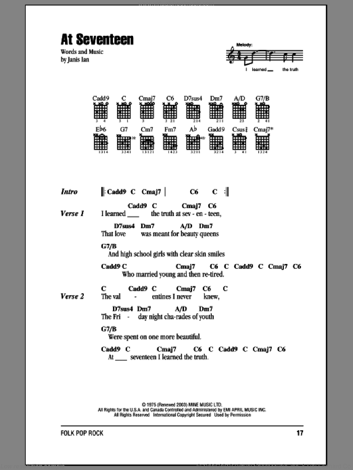 At Seventeen sheet music for guitar (chords) by Janis Ian, intermediate skill level
