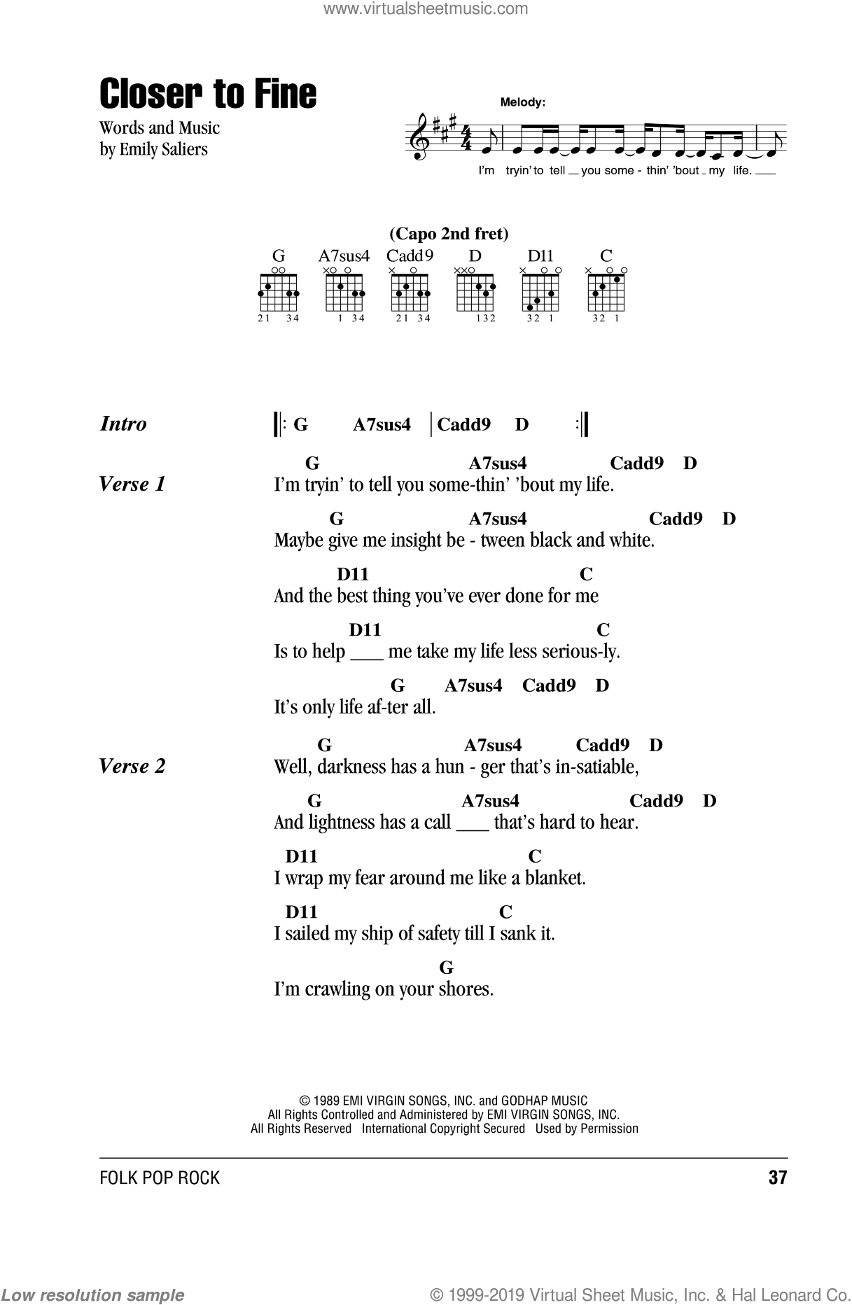 Closer To Fine sheet music for guitar (chords) by Emily Saliers. Score Image Preview.