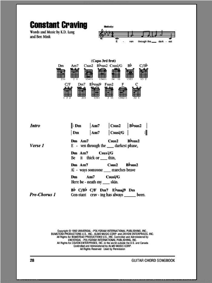 Constant Craving sheet music for guitar (chords) by Ben Mink and K.D. Lang. Score Image Preview.