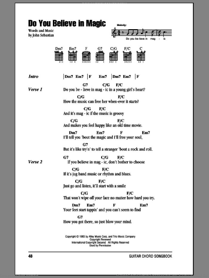 Do You Believe In Magic sheet music for guitar (chords) by The Lovin' Spoonful and John Sebastian, intermediate skill level