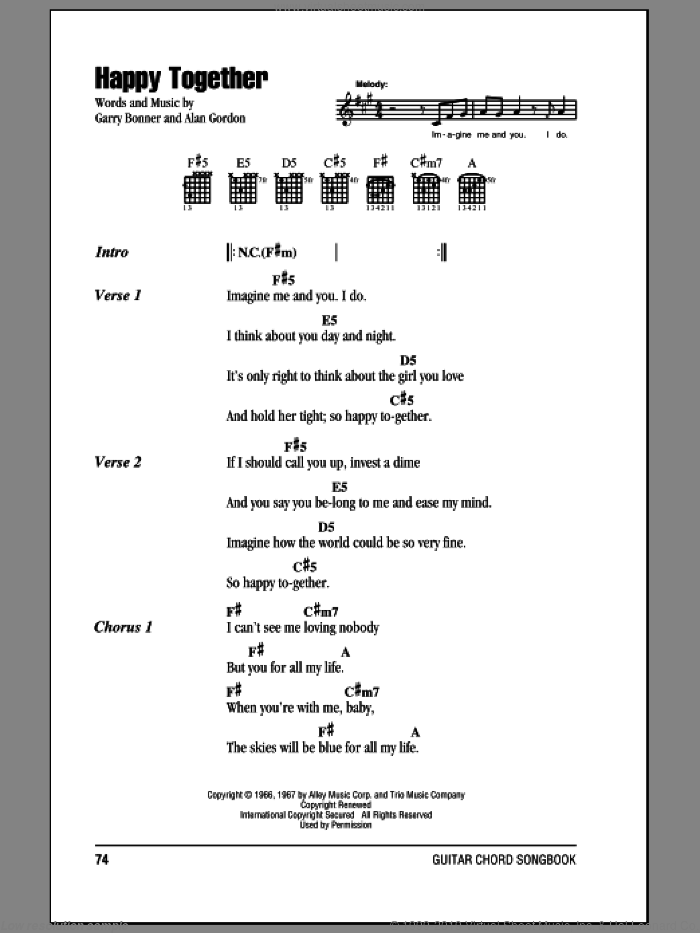 Happy Together sheet music for guitar (chords) by Garry Bonner, The Turtles and Alan Gordon. Score Image Preview.