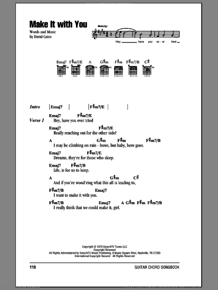 Make It With You sheet music for guitar (chords) by Bread and David Gates, wedding score, intermediate skill level