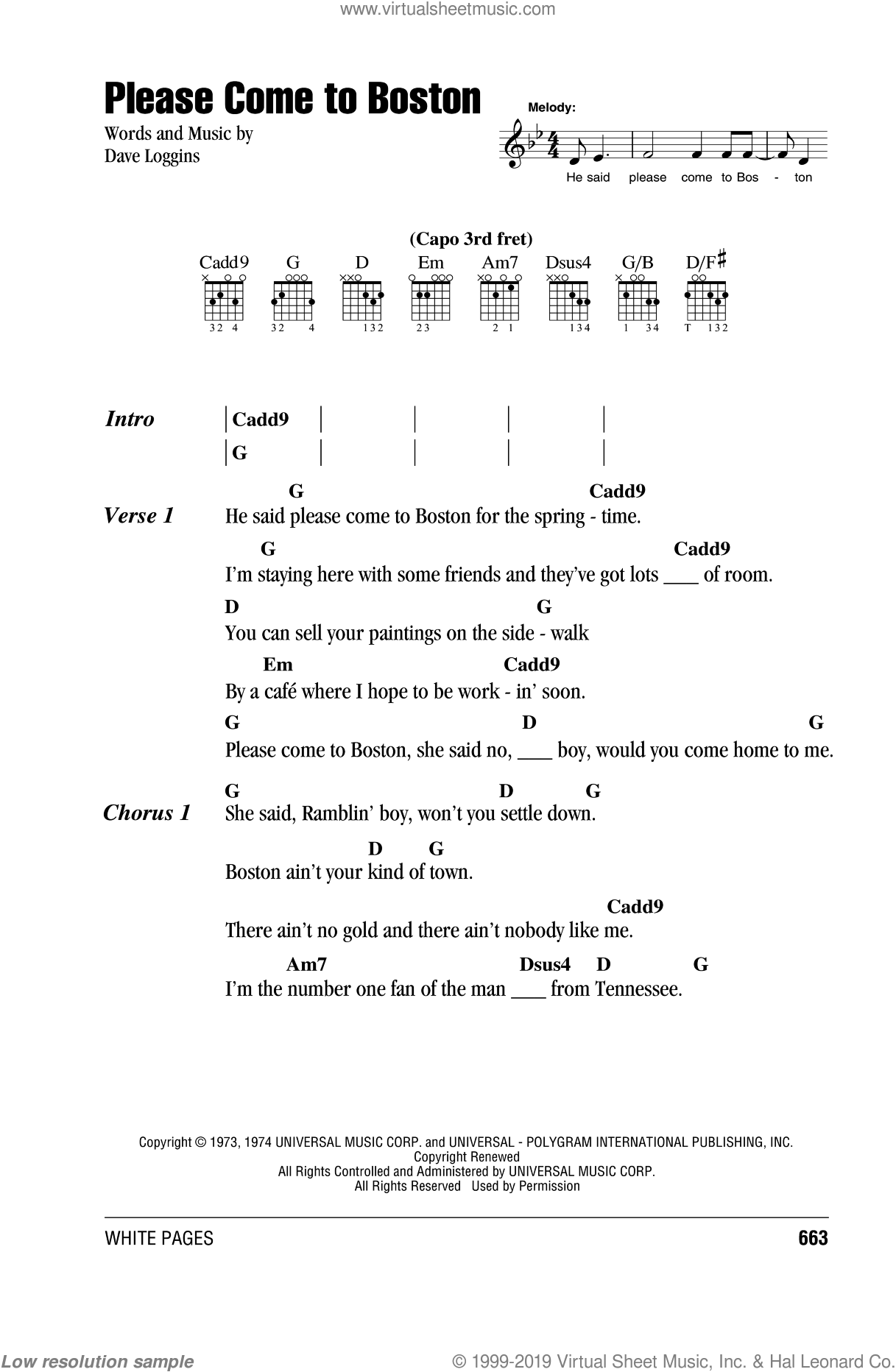 Please Come To Boston sheet music for guitar (chords) by Dave Loggins, intermediate guitar (chords). Score Image Preview.