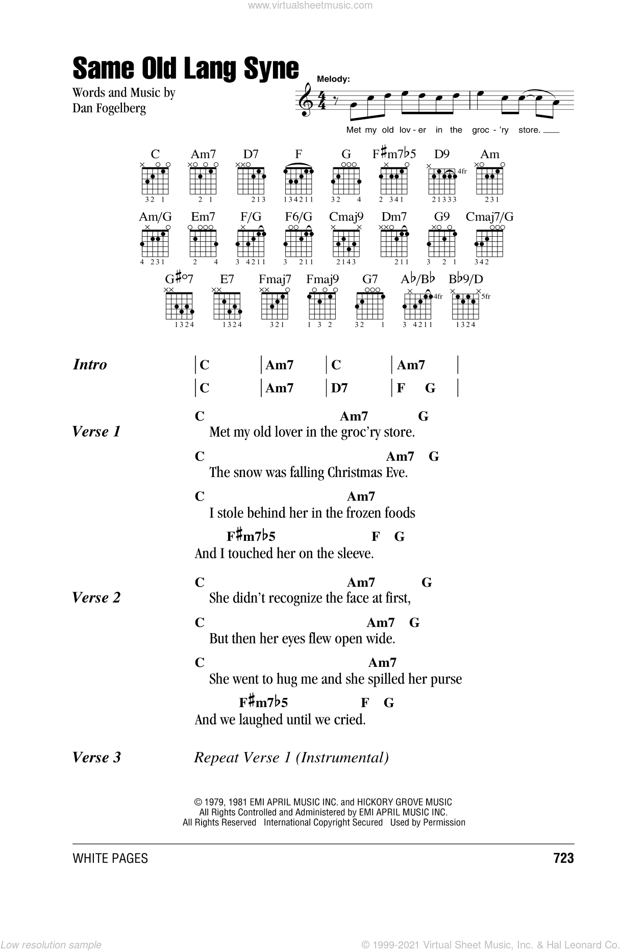 Same Old Lang Syne sheet music for guitar (chords) by Dan Fogelberg